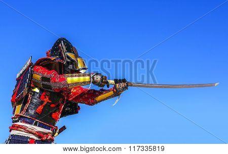 Samurai In Ancient Armor, Sword Attacks. Warrior