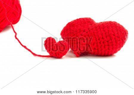 Red Heart Crochet On White Background