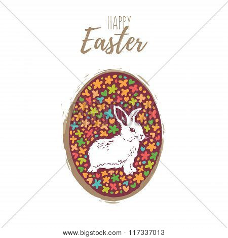 Floral easter egg with bunny. Vector