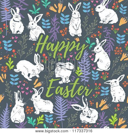 Happy Easter floral card with white rabbits