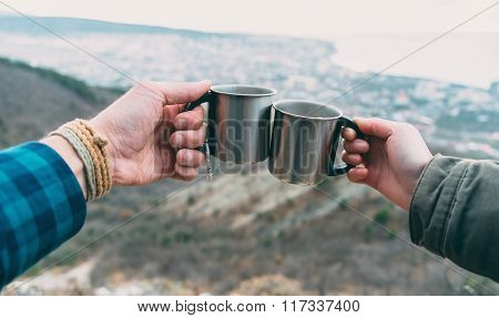 Couple Drinking Tea Outdoor