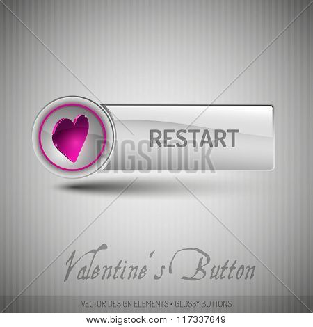 Vector Button With Pink Heart. Modern Design Elements With Valentines Symbols.
