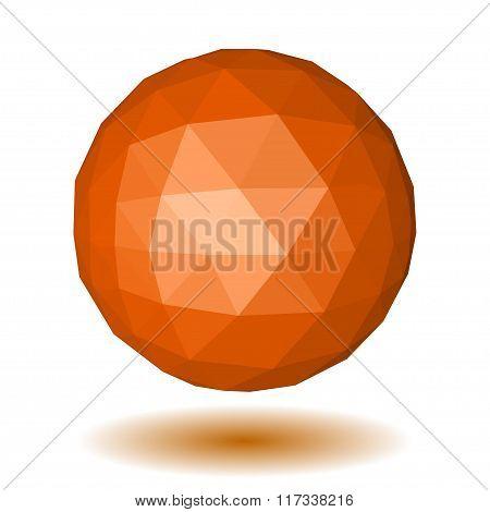 Orange Low Polygonal Sphere Of Triangular Faces