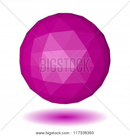 Pink Low Polygonal Sphere Of Triangular Faces