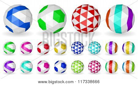 Low Polygonal Spheres Of Triangular Faces With Patterns