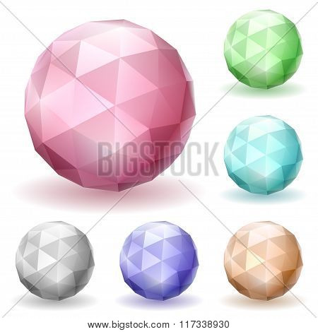 Multicolored Low Polygonal Spheres Of Triangular Faces