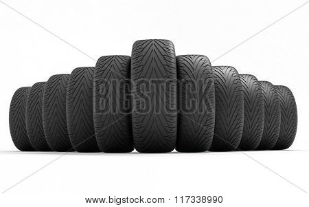 Tires of the car . Concept design. 3D render Illustration on white background.
