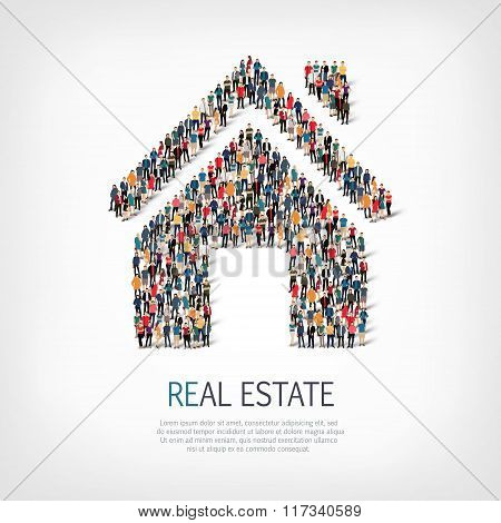 crowd people  shape  real estate