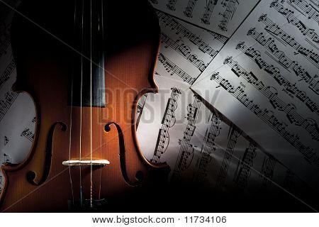 Violin on Music Sheets