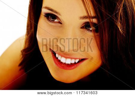 Young cheerful smiling woman.