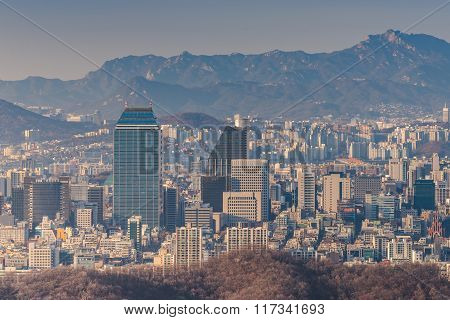 Korea,downtown Skyline Of Seoul City, South Korea.
