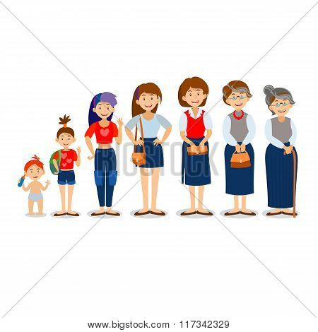 Generations woman. People generations at different ages. All age categories - infancy, childhood, ad