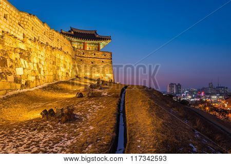 Korea,sunset At Hwaseong Fortress In Suwon, South Korea