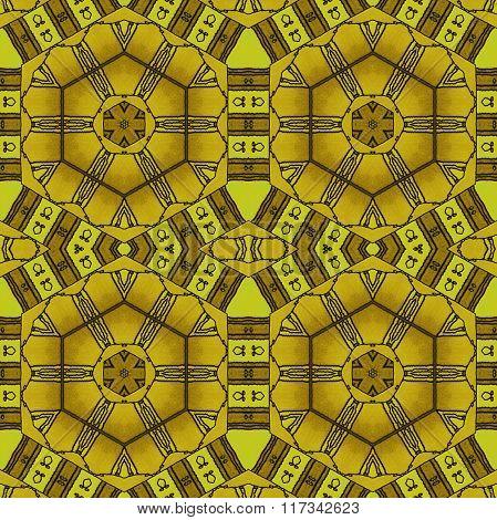 Seamless hexagon pattern yellow gold ocher brown