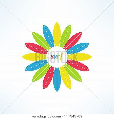 Vector bright and colorful surfing background made in modern flat design. Surfer tshirt print. Surfb
