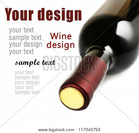 Lying red wine bottle, isolated on white