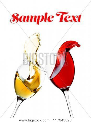 Red and white wine splash, isolated on white