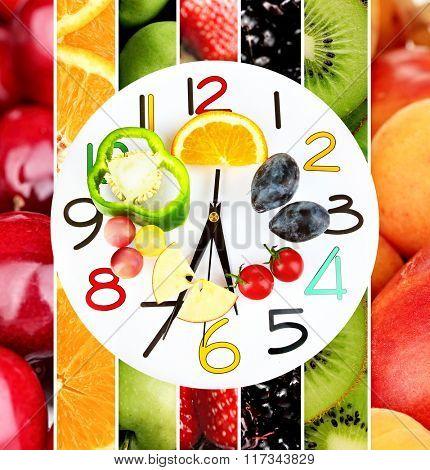Food clock. Healthy food concept