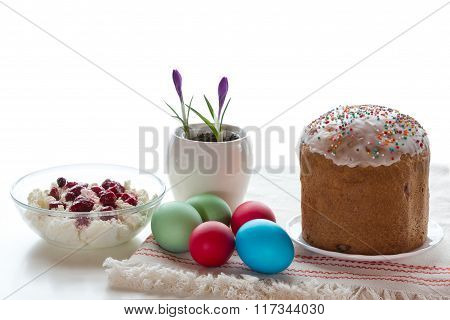 Easter Table With Dyed Eggs.