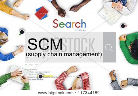 SCM Supply Chain Management Manufacture Procurement Concept