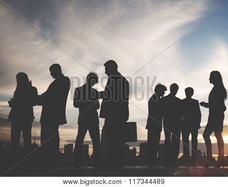 Back Lit Business Colleagues Occupation Teamwork Concept