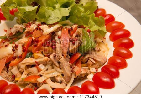 Appetizer Mixed Salad With Chicken Meat