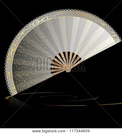 white golden fan