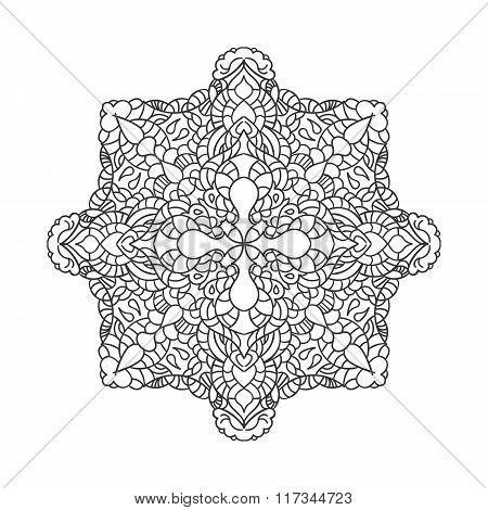 Mandala. Ethnic Decorative Element. Hand Drawn Backdrop. Islam, Arabic, Indian, Ottoman Motifs. Eps