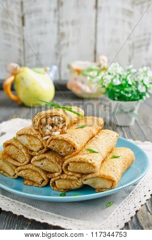 Rolls Pancakes Stuffed With Meat And Rice