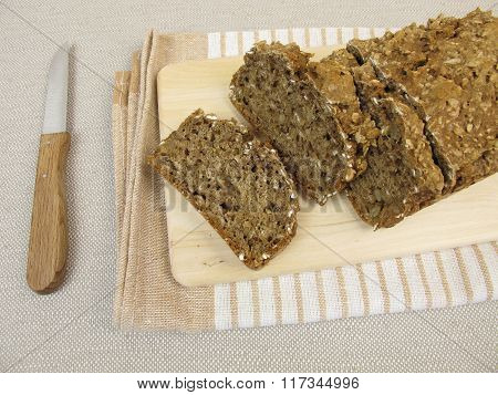 Black bread with flaxseeds and sunflower seeds