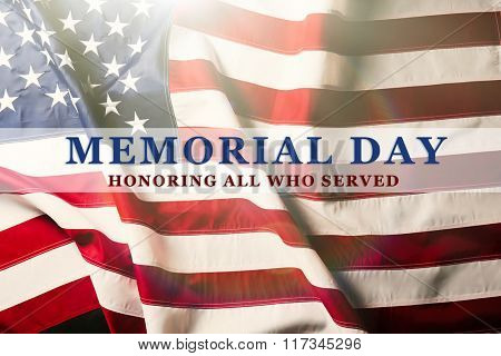 Text Memorial Day on American flag background
