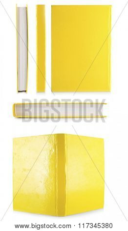 Yellow books isolated on white in collage
