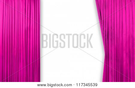 Pink curtain on theater or cinema stage slightly open on white background