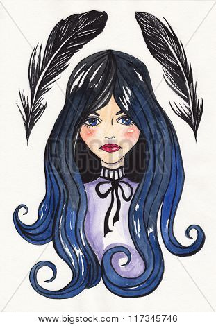 Gothic girl and crow feathers