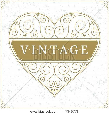 Heart luxury logo template in vintage style