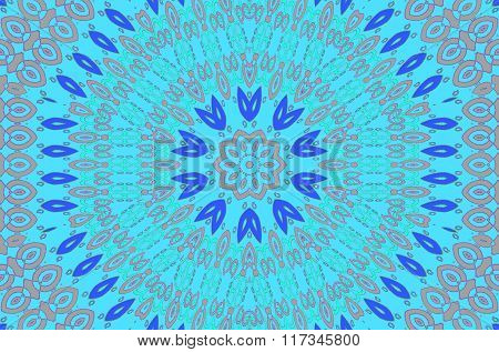 Seamless ornament turqouise blue pink gray