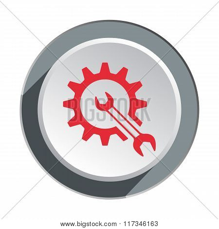 Gear, cogwheel with wrench key icon. Repair fix tool symbol. Red sign on round three-dimensional whi