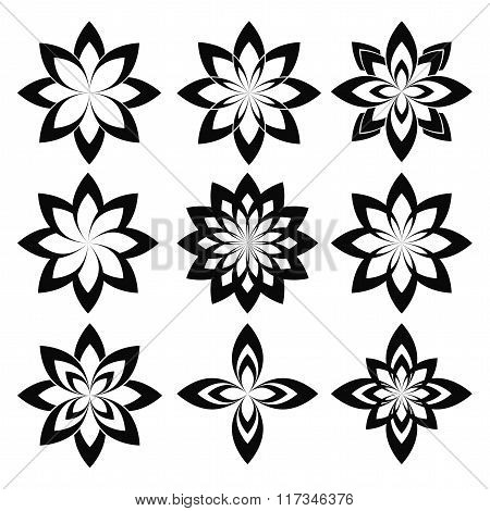 Flower Set. Vector Stylized Geometric Spring Flower Isolated On White. Eco Sign, Nature Label. Decor