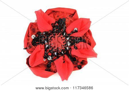 Red Brooch Flower Isolated On White Background