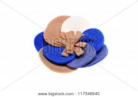 Brooch Made Of Felt Wool On A White