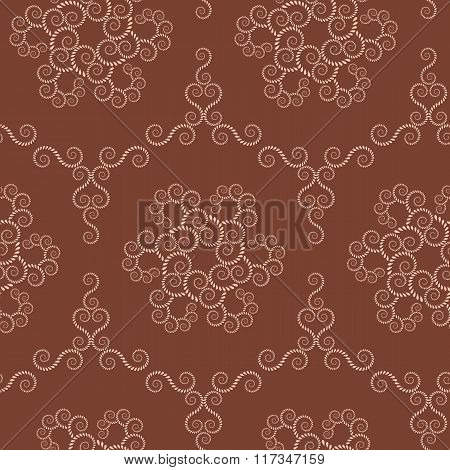 Spiral seamless lace pattern. Vintage texture. Abstract twirl figures of laurel leaves. Brown, sepia