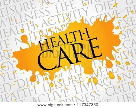 Health care word cloud health concept, presentation background