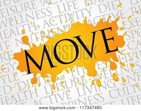 Move Word Cloud, Fitness, Sport