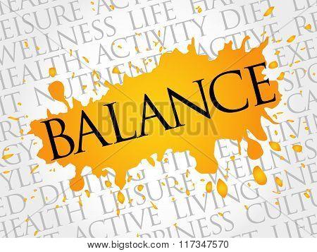 Balance Word Cloud, Fitness, Sport