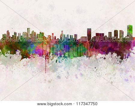 Monterrey Skyline In Watercolor Background