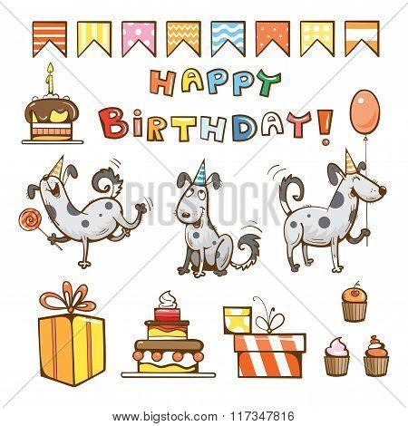 Birthday Cartoon Set.