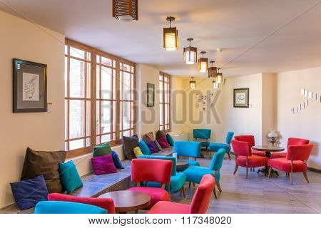 Kashan, Iran - December 9, 2015: Fancy cafe in Ameri Historical House in Kashan, Iran