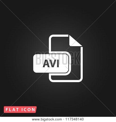 AVI video file extension icon vector.