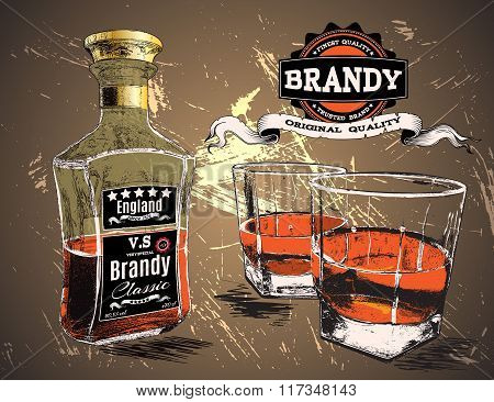 Brandy was pour in two glasses with bottle