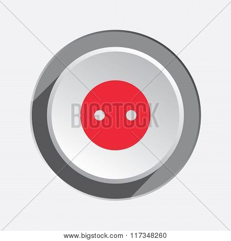 Electric socket base icon. Power energy symbol. Red sign on round three-dimensional white-gray butto